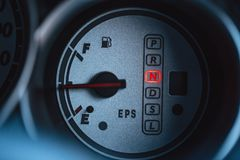 N or neutral gear position light sing. Show close up at vehicle gauge royalty free stock photo