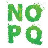 N, O, P, Q, alfabeto inglés Handdrawn - las letras se hacen de gree Imagenes de archivo