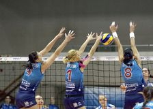 N.Obmochaeva(8), Y.Morozova(1), A.Makarova(4) Stock Photo