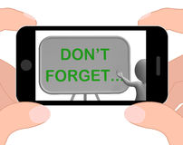 N'oubliez pas les expositions de téléphone se rappelant des tâches et le rappel Photos libres de droits