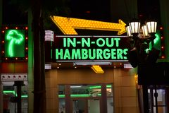 In-N-Out Burger Sign on Las Vegas Strip royalty free stock image