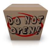 N'ouvrez pas la boîte en carton Co confidentielle privée secrète spéciale Photo stock