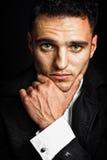 Één peinzende jonge mens met expressieve ogen Stock Foto
