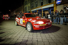 N.Pierce with Honda Civic. GALWAY - FEBRUARY 4:N.Pierce with Honda Civic take part at Cremonial start of annual Galway International Rally on February 4, 2012 in Royalty Free Stock Images