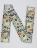 N posteriore dalle banconote in dollari immagini stock libere da diritti