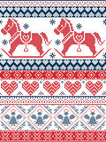 N Printed Textile style and inspired by Norwegian Christmas and festive winter seamless pattern in cross stitch with snowflakes. Seamless Scandinavian Printed Stock Photos