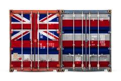 N?rbild av beh?llaren med nationsflaggan arkivfoto
