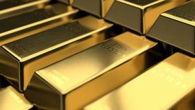 N?rbildsikt av fina guld- st?nger lager videofilmer