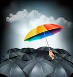 Één regenboogparaplu die op een grijze achtergrond duidelijk uitkomen Stock Foto