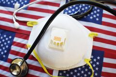 N95 Respirator With Stethoscope On American Flags High Quality