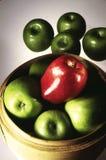 Één Rode Appel Stock Foto's