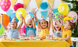 N`s birthday. happy kids with cake Stock Photo
