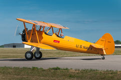 N2S-1 Bush Stearman Sits on Taxiway Royalty Free Stock Photos