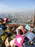 Love padlocks. Locks at N Seoul Tower located on the high hill in South Korea royalty free stock photography