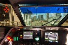 N700 shinkansen驾驶模拟器的火车 免版税图库摄影
