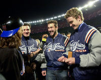 N'Sync at 2000 World Series. Boy band N'Sync are interviewed by the TV show The View prior to singing the National Anthem.  (Image taken from color slide Royalty Free Stock Images