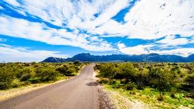 N 128th Street to the trailhead Tom`s Thumb Trailhead in the McDowell Mountain Range. Near Scottsdale, Arizona, USA stock images