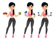 N?tt sportig dam, attraktiv konditionkvinna royaltyfri illustrationer