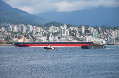N.Vancouver a tanker & tug boat CA. Stock Images