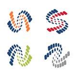 N - Variation för symbol för teknologi för anslutning för kurva för s-bokstav ryggrads- vektor illustrationer