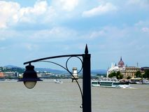 N?vel de ponto alto no Danube River com ?gua verde amarela e madeira enlameadas da tra??o imagens de stock