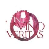 N vino veritas. Bright watercolor wine design elements includes the phrase (in vino veritas - verity in wine Royalty Free Stock Image