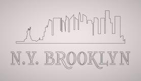 n Y Brooklyn linia horyzontu i punkt zwrotny sylwetka, czarny i biały projekt, Zdjęcie Royalty Free