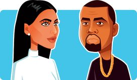 N.Y.,U.S. June 9, 2018, Kim Kardashian and Kanye West Vector Caricature Stock Images