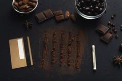 Nałóg czekoladowy konceptualny tło zdjęcia stock