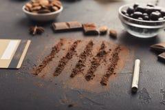 Nałóg czekoladowy konceptualny tło zdjęcie stock