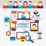 nałóg rysujący ręki ilustracyjny internetów wektoru biel Grupy ludzi use smartphone, notatnik i ilustracji