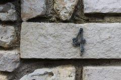 4 na ściana z cegieł Fotografia Stock