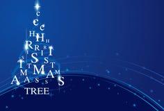 Na błękit Xmas drzewo Obrazy Royalty Free