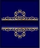 Na błękitny tle ozdobna złota rama Fotografia Royalty Free