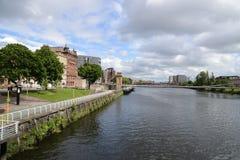 Na bankach Clyde rzeka w Glasgow obraz royalty free