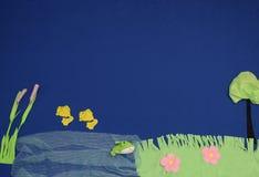 Na beira do lago da tela Imagem de Stock