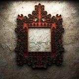 Na betonowej ścianie retro rama Obraz Royalty Free
