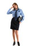 Na biały backgro dama funkcjonariusz policji Fotografia Stock