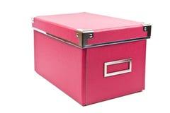 Na biały tle zmroku pudełko różowy papierowy Fotografia Stock