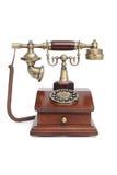 Na biały odosobnionym tle staromodny telefon Obraz Royalty Free