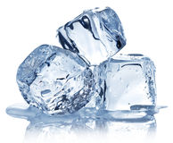 Na biały tle trzy kostka lodu Obrazy Royalty Free