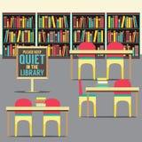 Na biblioteca com cartaz proibido ilustração royalty free