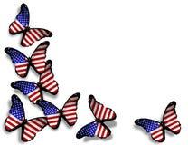 Na biel flaga amerykańska motyle Fotografia Royalty Free