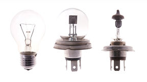 Na biel odizolowywać żarówek lampy Fotografia Stock