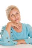 Na biel stara kobieta zdjęcia stock
