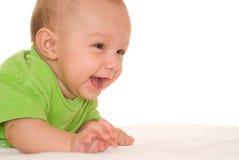 Na biel szczęśliwy dziecko zdjęcia royalty free