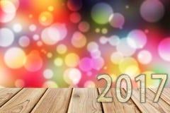 2017 na bokeh plamy nocy życia tle Obrazy Stock