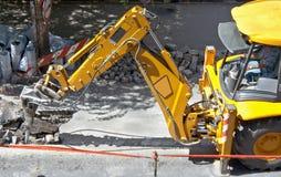 Na budowy drogi pracie ciężka maszyna Obrazy Royalty Free