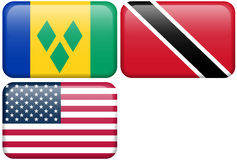 NA Buttons: St. Vincent, Trinidad & Tobago, USA Stock Photography