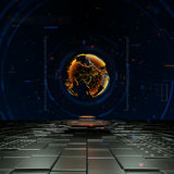 Na całym świecie biznesowy pojęcie z 3D kuli ziemskiej hologramem i futurystycznymi szczegółami Ilustracji